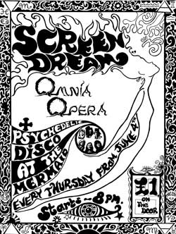 Poster advertising the fortnightly residency  at the  Mermaid in Birmingham, Screen Dream